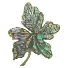 Signed MR Mexico sterling silver figural leaf Brooch with abalone inserts