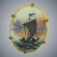 Vintage small hand painted on porcelain early Scatter Pin