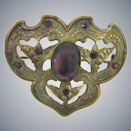 Antique Victorian Sash Pin with purple glass stones