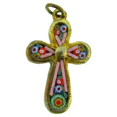 Vintage small mosaic cross Pendant