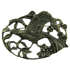 Vintage early silver tone floral Brooch with large bird