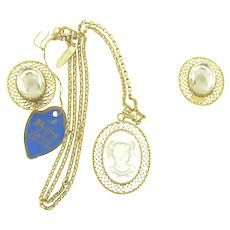 Signed Whiting and Davis reverse carved glass cameo Necklace and clip back Earrings