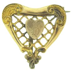 Signed P.S. Co early heart shaped Watch Pin with initial C