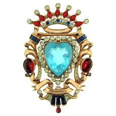 Signed Coro vermeil 1940's multicolored jeweled  crown Brooch