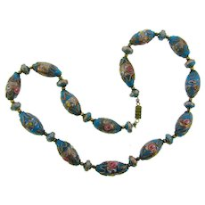 Vintage Venetian wedding cake glass beaded Necklace