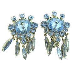 Vintage 1960's clip back Earring with blue rhinestones and dangle