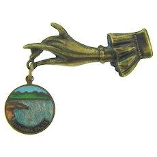 Vintage souvenir small figural hand Brooch with Niagara Falls charm