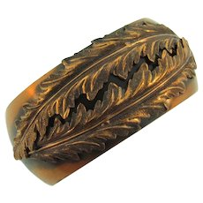 Signed Whiting and Davis heavy copper clamper Bracelet with leaf design