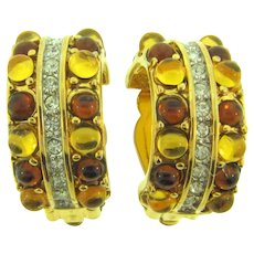 Signed Nina Ricci clip back Earrings with topaz and citrine glass beads and crystal rhinestones