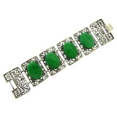 Vintage chunky link Bracelet with green glass cabochon