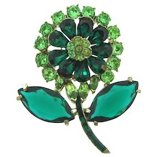 Signed Pell large flower Brooch with shades of green rhinestones