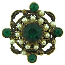 Marked Mexico gold tone Brooch with emerald green rhinestones and imitation pearls
