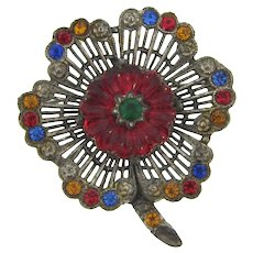 Vintage silver tone large flower Brooch with molded glass red flower stone and multicolored rhinestones