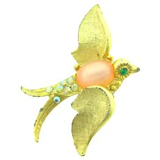 Vintage small figural 1960's bird in flight Brooch with AB and green rhinestones and pink cabochon belly