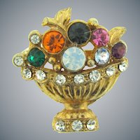 Vintage colorful figural flower pot Scatter Pin with rhinestones