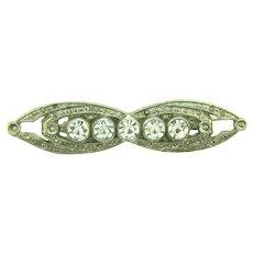 Vintage Art Deco white metal Brooch with crystal rhinestones