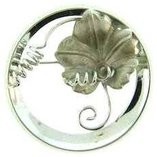 Marked Sterling vintage Brooch with leaf and tendrils