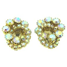 Vintage 1960's double circle rhinestone clip back Earrings
