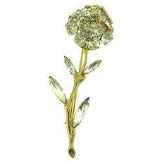 Vintage long stemmed flower Brooch with crystal rhinestones