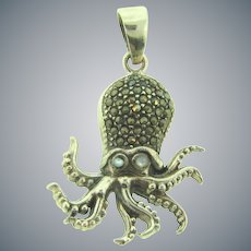 Marked 925 sterling silver figural octopus Pendant with marcasites