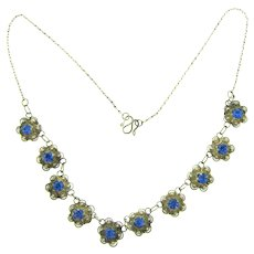 Vintage petite choker length floral link Necklace with blue rhinestones