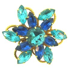 Vintage floral gold tone Brooch with shades of blue rhinestones