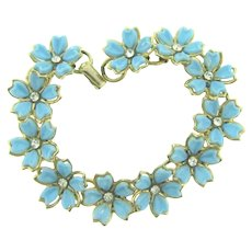 Vintage link Bracelet with thermoset petal flowers and crystal rhinestones