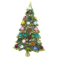 Vintage figural Christmas tree Brooch with multicolored rhinestone ornaments