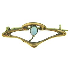 Vintage small gold filled Art Nouveau Scatter Pin with opal