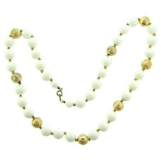 Vintage 1950's composition white bead Necklace with gold tone beads
