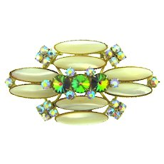 Unusual vintage 1960's large Brooch with rivoli and AB rhinestones and MOP