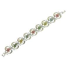 Vintage floral link Bracelet with enamel and rhinestones