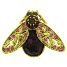 Vintage figural fly Brooch with purple, red and pink rhinestones