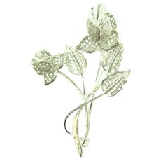 Marked Sterling silver floral spray Brooch