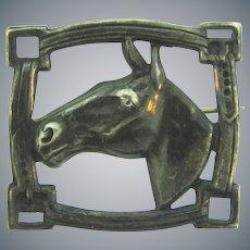 Marked sterling silver figural framed horse head Brooch