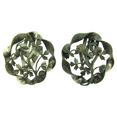 Vintage matching pair of floral silver tone Dress Clips