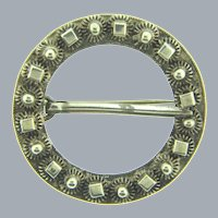 Vintage hallmarked sterling silver Etruscan style Buckle/Sash Brooch