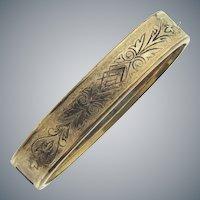 Marked pat. apl.9 1872 gold filled bangle Bracelet with taille de epergne chased design