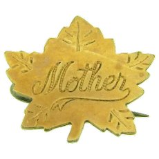 Signed J.S. gold front maple leaf Scatter Pin with inscribed with mother