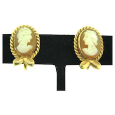 Signed AMCO 14 KT gold filled framed shell Cameo screw on Earrings