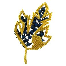 Vintage unusual leaf Brooch with dark blue rhinestones