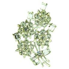 Signed Lisner all crystal rhinestone floral Brooch