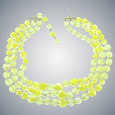 Vintage triple strand lemon yellow crystal bead Necklace