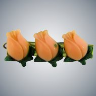 Vintage celluloid Barrette with pink tulips
