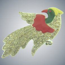 Vintage pot metal 1940's figural bird Brooch with enamel and crystal rhinestones