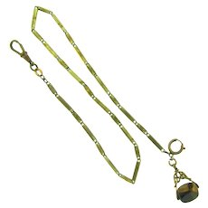 Vintage Watch Chain with swivel hook, spring ring clasp and spinning tiger eye stone fob
