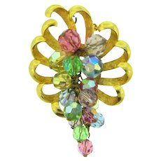 Signed Parklane colorful vintage Brooch with crystal beads