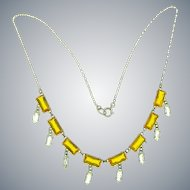 Vintage petite Art Deco fine link chain choker Necklace with amber glass and crystal stones
