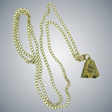 Vintage long chain Necklace with bell pendant