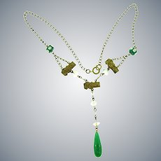 Vintage chain Necklace with crystal beads, green rondeles and green glass drop